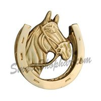 Door Knocker - Horse, 5 inches, gold silver, brass