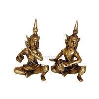 Pair Of Trival Dance Brass Statues, brass