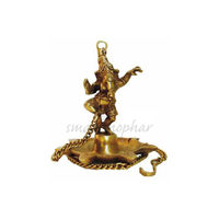 Brass Diya/Deepak With Hanging Chain Standing Ganesha, brass