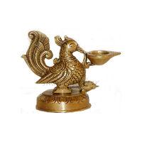 Vintage Look Brass Statue Of Peacock Diya, brass
