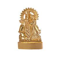 Radha Krishna Cow Statue, gold, zinc