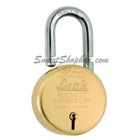 Link Padlock 77mm Round Brass