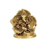 Ganesh Sitting On a Leaf Throne, brass