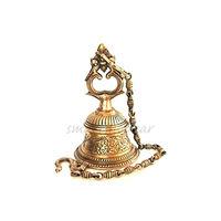 Brass Curved Bell With Chain Mandir, brass