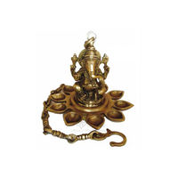 Brass Diya/Deepak With Hanging Chain Sitting Ganesha, brass
