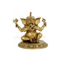 Ganesha Playing Shahnai Statue, brass