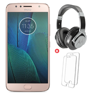 "Lenovo Moto G5S Plus DualSIM/LTE/ 5.5"" /4GB-32GB+ bundled with Motorola Pulse Max Over ear wired headphone,   Gold"