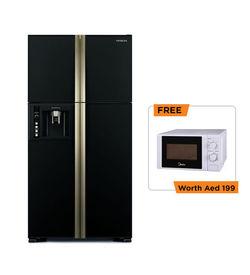 660Ltr Hitachi Refrigerator RW660PUK Big french inverter series,  Black