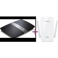 Linksys EA6700 AC1750 Router+ RE6300 AC750 Wifi Range Extender Bundle Offer,  Black