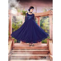 Kmozi Latest Gown Style Net Brasso Anarkali Suit, blue