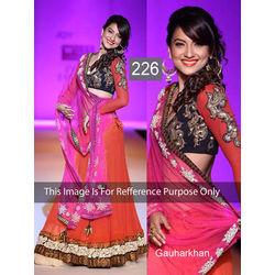 Kmozi Bollywood Gauharkhan Designer Lehenga Choli, pink and orange