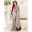 Kmozi Satin Georgette Saree, grey