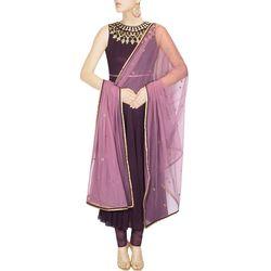 Kmozi Designer Georgette Anarkali Suit, purple