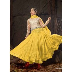 Kmozi Designer Anarkali Suits, yellow