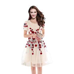 New Spring Summer 2016 Women' S Embriodared White Dress By Kmozi, white, free size