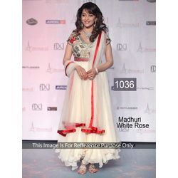 Kmozi Madhuri Dixit In Georgette Anarkali Suit, white