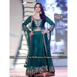 Kmozi Preity Zinta Designer Anarkali Dress, green