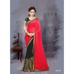 Kmozi New Fancy Designer Saree, red and black