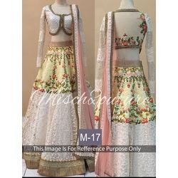 Kmozi Designer Bridal Lehenga Choli, white
