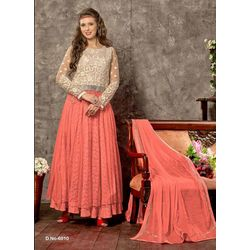 Kmozi Peach Designer Long Anarkali Suits, peach