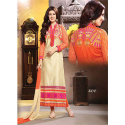 Kmozi Long Pakistani Styles Designer Salwar Kameez, orange and cream