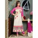 Kmozi Cotton Salwar Kameez, pink and white