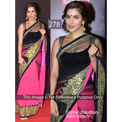 Kmozi Bollywood Replica Beauty Saree, pink and black