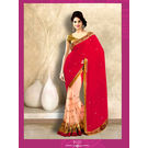 Kmozi New Fancy DesignerLight Saree, red and light pink