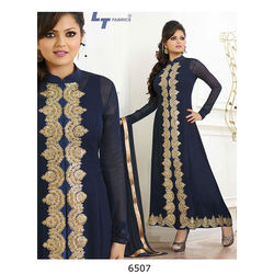 Kmozi Long Plazzo Style Embroidery Work Salwar Kameez, blue