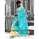 Kmozi Mira Twinkal Firoji Online Saree, blue and cream