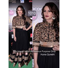 Kmozi Huma Qureshi Floor Length Anarkali At Iifa Awards, black