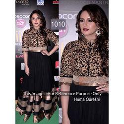 Kmozi Huma Qureshi Floor Length Anarkali At Iifa Awards, black