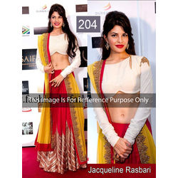 Kmozi Bollywood Replica Jacqueline Rasbari Lehenga Choli, red and yellow