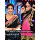 Kmozi Bollywood Replica Madhuri Masakkali Saree, pink and black