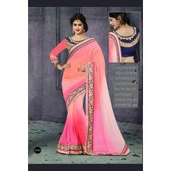 Kmozi Fancy Designer Embrodaried Saree, light pink