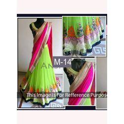 Kmozi Slik Georgette Lehenga Choli, green and pink
