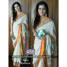 Kmozi Kajol Rainbow Fancy Designer Saree, white