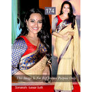 Kmozi Sonakshi Tussar Butti Designer Saree, cream