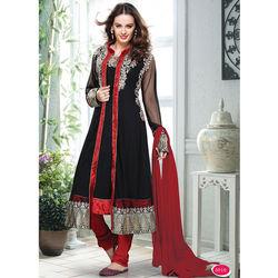 Kmozi Latest Long Serwani Style Jacket With Brocket Lace In Daman Anarkali Suit, black