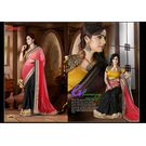 Kmozi New Arrivals Designer Saree, pink and black