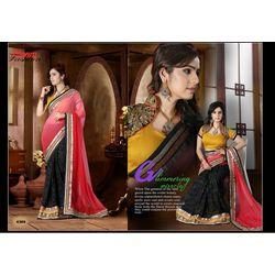 Kmozi New Arrivals Designer Saree, pink and black