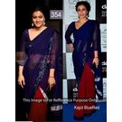 Kmozi Bollywood Kajol Designer Saree, blue and red