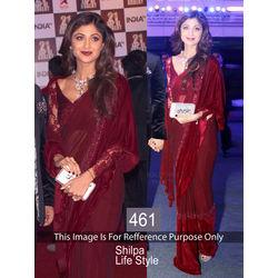 Kmozi Shilpa Life Style Designer Fancy Saree, maroon