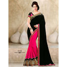 Kmozi Designer Saree Online, black and pink