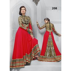 Kmozi Gorgeous Floor Touch Anarkali Suit, red