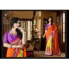 Kmozi Half Designer Saree, orange and yellow
