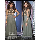 Kmozi Bipasha Queen Floor Touch Designer Anarkali, grey