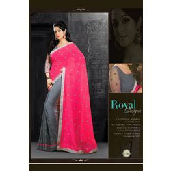 Kmozi Designer Embroide Sarees, gray and pink