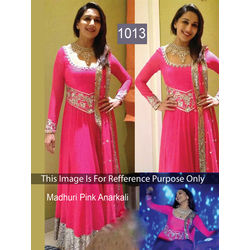 Kmozi Madhuri Dixit Style Heavy Embroidery Work Floor Length Anarkali Suit, pink