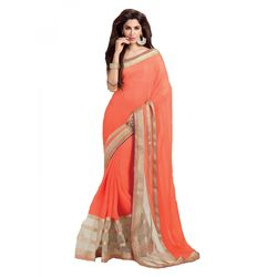 Kmozi Latest Saree Buy Online, orange